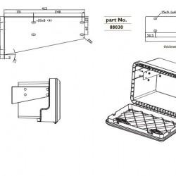 Стойка хоризонтална кутия инструменти с черни планки за кутии: 81004-81006-81008