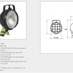Халоген бял/кръгъл/със стойка (крушка H3 12/24V)