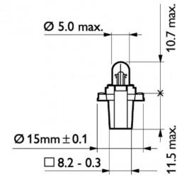 Крушка BAX10s 24/1.2W BAX8.3s/1.35(сива)