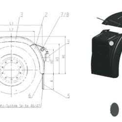 Калник заден, предна част RH B 690 x H2 488 x H3 590mm; 3.4kg -MAN TGA/TGS/TGX-