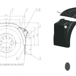 Калник заден, задна част, RH B 690 x H2 488 x H3 590mm; 4.1kg -MAN TGA/TGX/TGS-