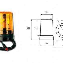 Маяк магнитен Н3 оранжев 12V