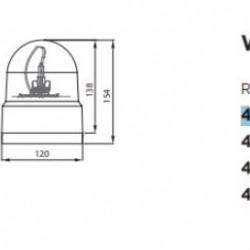Маяк магнитен, въртящ се оранжев H1 с кабел запалка 12/24V
