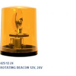 Маяк с основа, въртящ се, оранжев,  BA15S 24V