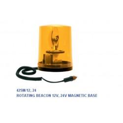 Маяк магнитен с кабел, оранжев, BA15S 24V