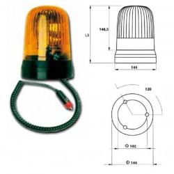 Маяк магнитен с кабел за запалка, въртящ се оранжев, Н3 24V