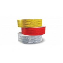 Лента светлоотразителна -мека повърхност 50мм.х50м.->Червена