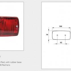 Халоген червен/със стойка (правоъгълен)