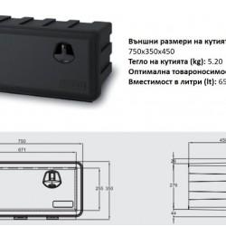 Кутия за инструменти JUST с 2 ключалки, max 45 kg, 74.5 lt, 750х350х450