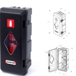 Кутия за пожарогасител ADAMANT, черна с прозорец, 6 kg, 675х310х250