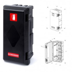 Кутия за пожарогасител ADAMANT, черна без прозорец, 6 kg, 611х310х250