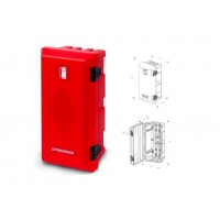 Кутия за пожарогасител ADAMANT, червена без прозорец, 6 kg, 611х310х250