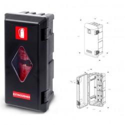 Кутия за пожарогасител ADAMANT, черна с прозорец, 6 kg, 611х310х250