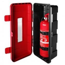 Кутия за пожарогасител REGON, червена с прозорец, 9 kg, 715х335х240
