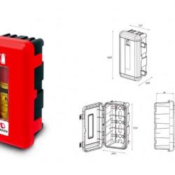 Кутия за пожарогасител REGON, червена с прозорец, 6 kg, 620х335х240