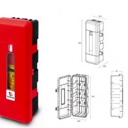 Кутия за пожарогасител REGON, червена с прозорец, 12 kg, 865х335х240