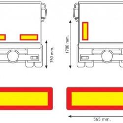 Табела светлоотразителна алуминиева за ремарке 565х196х1мм  ECE70