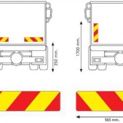 Табела светлоотразителна алуминиева за камион-565х132х0.8мм  ECE70
