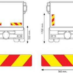 Табела светлоотразителна, алуминиева комплект 2бр. за камион 0.8мм. 565х132 RF