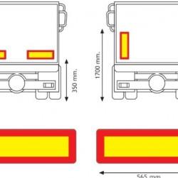 Табела светлоотразителна, алуминиева, за ремарке 0.8мм. 565х196 RF
