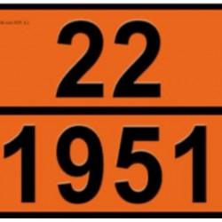 Табела ADR релефна, цинк 0.8мм. 300х400мм. 22/1951 -ТЕЧЕН АРГОН-