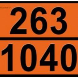 Табела ADR цинк 0.8мм. 300х400мм. 263/1040 -ЕТИЛОВ ОКСИД-