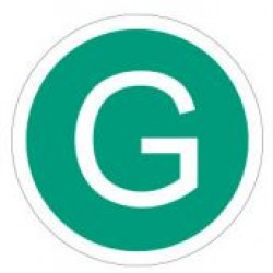 Стикер с буква G на зелен фон- 200мм. - Намалени емисии