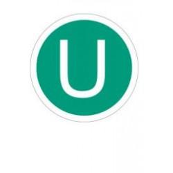 """Стикер с буква U на зелен фон - превозно средство в съответствие с резолюция """"зелени камиони"""""""
