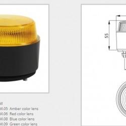 Маяк червен LED нисък с равна основа 10-30V