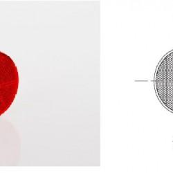 Светлоотразител кръг, червен, лепящ