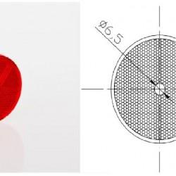 Светлоотразител кръг, червен с винт
