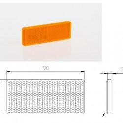 Светлоотразител правоъгълен, лепящ, оранжев