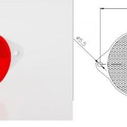Светлоотразител кръг червен с 2 винта