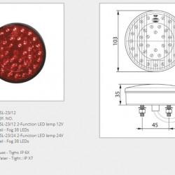 Стоп универсален диоден, 2-секционен червен 24V