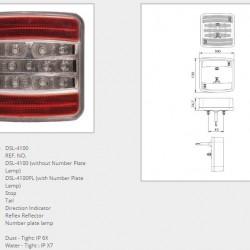 Стоп универсален диоден с 4 функции без осветител за номер 100Х100мм  10-30V