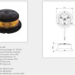 Маяк червен LED, 10 режима,равна основа,10-30V DC