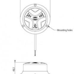 Маяк бял LED, 10 режима,равна основа,10-30V DC