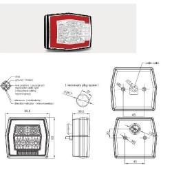 Стоп универсален LED с осветител за ноер с мигач с кабел-(1м) RH/LH