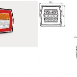 Стоп универсален LED бял с жълт мигач с кабел (1м.) RH/LH-