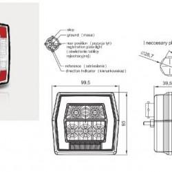 Стоп  бял, LED, универсален, осветител за номер /жълт мигач с фасунка с кабел(1м.)RH/LH