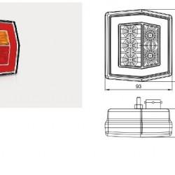 Стоп червен, LED, универсален с жълт мигач с кабел-(1М) RH/LH -