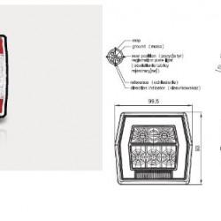 Стоп универсален, LED, червен осветител за номер/жълт мигач с фасунка-(1М)