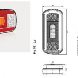 Стоп универсален диоден 5 светлинен 12-36V с мъгла светлина, без осветител за номер