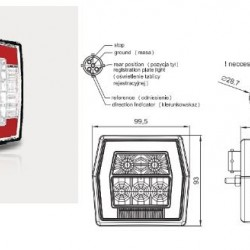 Стоп универсален LED с осветител за номер с мигач с букса  RH/LH