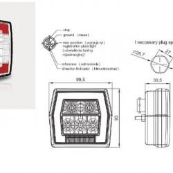 Стоп бял, LED, универсален, осветител за номер /жълт мигач с букса RH/LH