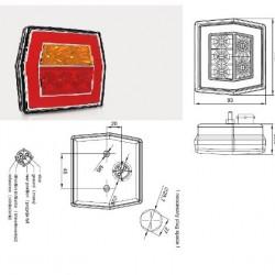 Стоп универсален, LED, червен с жълт мигач с букса RH/LH