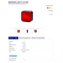 Габарит ,червен, свелоотразителен LED 12/24V