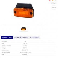Габарит оранжев, светлоотразителен 12/24V, универсалне