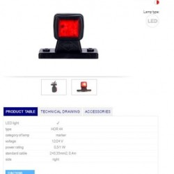 Рогче RH червено-бяло  LED 12-24V