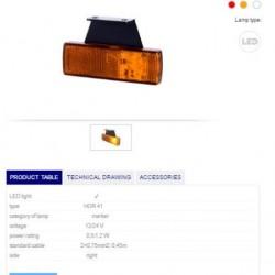 Габарит оранжев светлоотразителен RH LED 12-24V